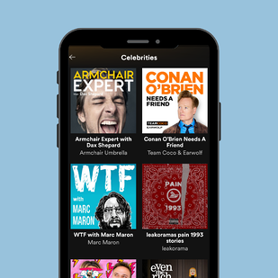 Celebrity podcasts on mobile phon